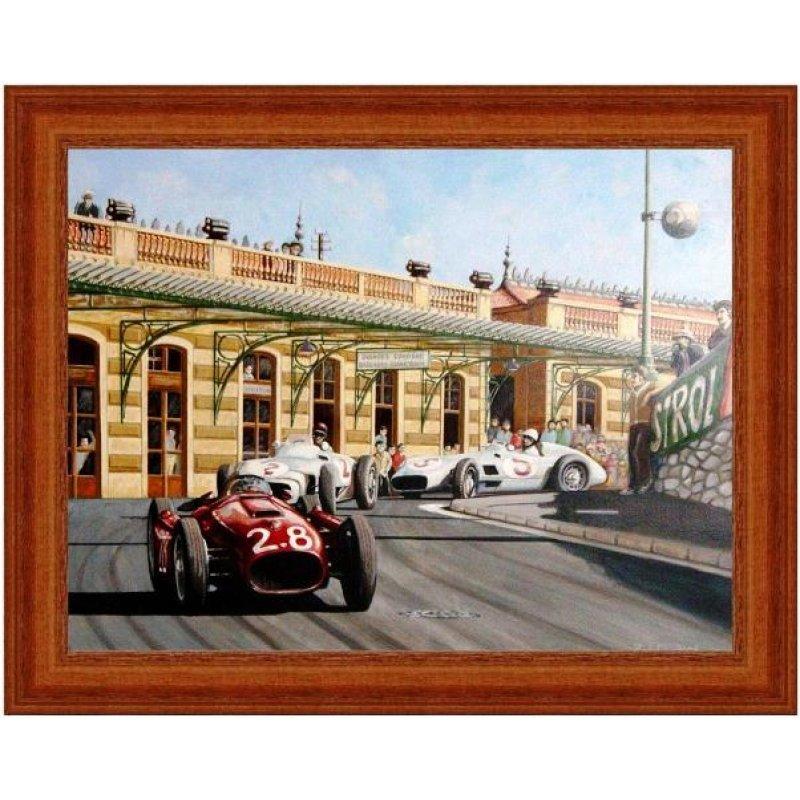 Χειροποίητος πίνακας με vintage έγχρωμη απεικόνιση αγωνιστικών αυτοκινήτων σε αγώνα