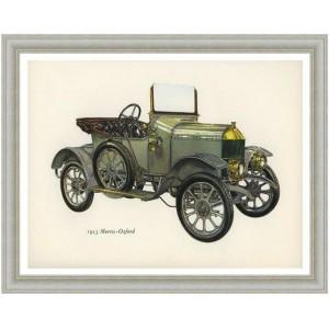 Χειροποίητος πίνακας με vintage έγχρωμη απεικόνιση αντίκας αυτοκινήτου