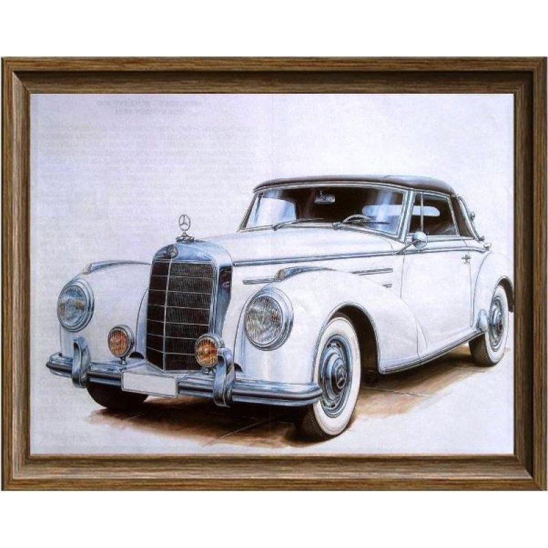 Χειροποίητος πίνακας με vintage έγχρωμη απεικόνιση αντίκας αυτοκινήτου σε λευκή απόχρωση