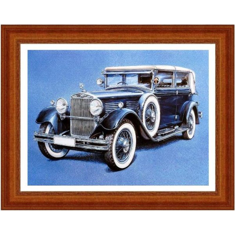 Χειροποίητος πίνακας με vintage έγχρωμη απεικόνιση αντίκας αυτοκινήτου σε μπλε αποχρώσεις