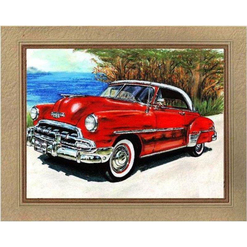 Χειροποίητος πίνακας με vintage έγχρωμη απεικόνιση αυτοκινήτου 60's δίπλα στη θάλασσα