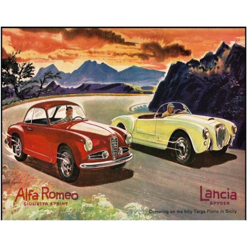 Χειροποίητος πίνακας με vintage έγχρωμη απεικόνιση αυτοκινήτων ρετρό σε ράλλυ