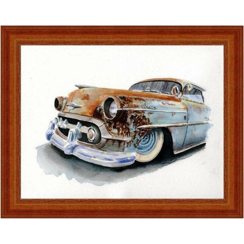 Χειροποίητος πίνακας με vintage έγχρωμη απεικόνιση φθαρμένου αυτοκινήτου αντίκα