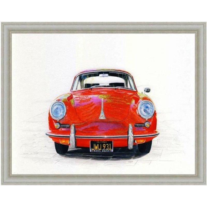 Χειροποίητος πίνακας με vintage έγχρωμη απεικόνιση ρετρό αυτοκινήτου