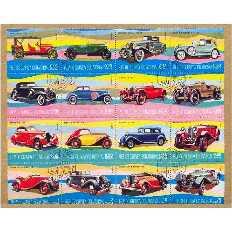 Χειροποίητος πίνακας με vintage έγχρωμη απεικόνιση ρετρό αυτοκινήτων σε καρτέλα γραμματοσήμων