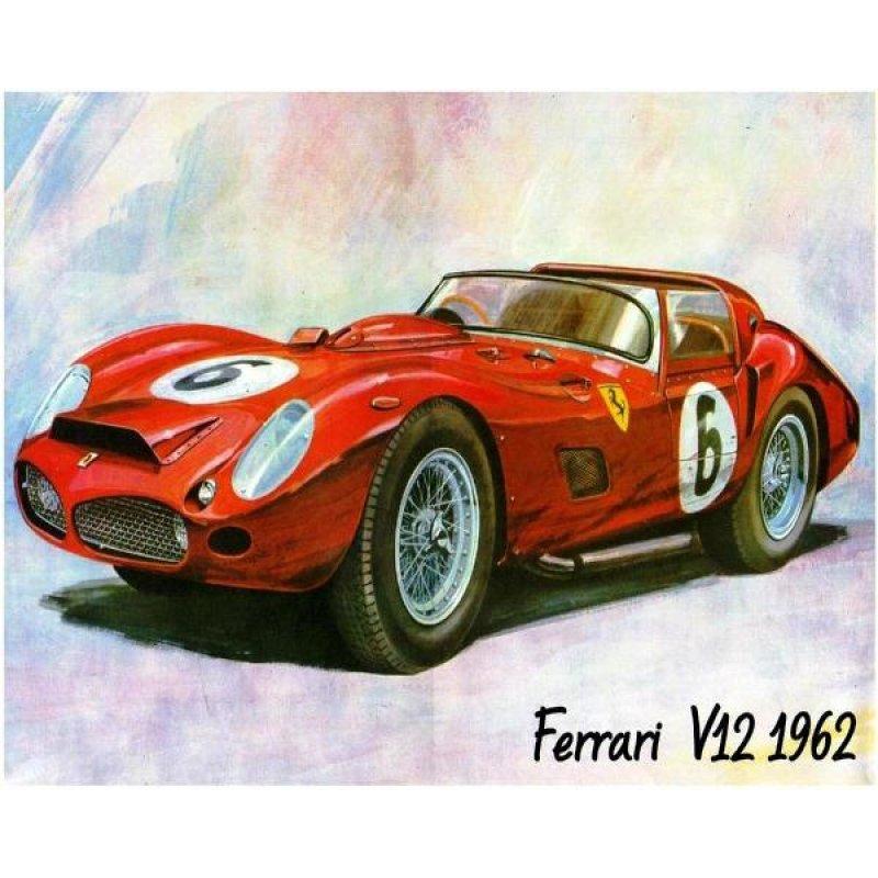Χειροποίητος πίνακας με vintage έγχρωμη απεικόνιση ρετρό σπορ αυτοκινήτου