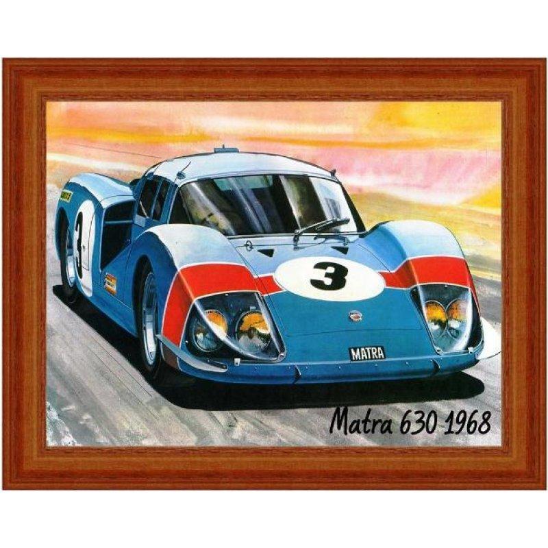 Χειροποίητος πίνακας με vintage έγχρωμη απεικόνιση σπορ αυτοκινήτου
