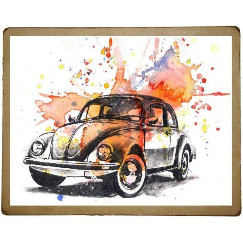 Χειροποίητος πίνακας με vintage πολύχρωμη απεικόνιση σκαραβαίου