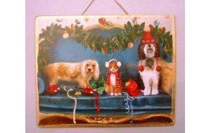 Xειροποίητο Χριστουγεννιάτικο ταμπελάκι  με ζωά&kapp