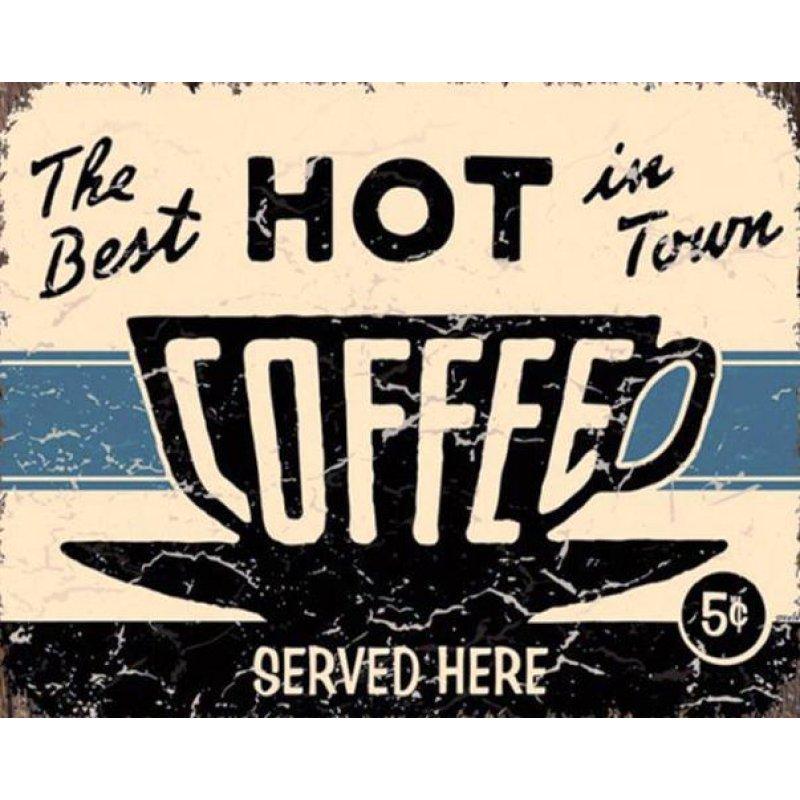 Ζεστός καφές εδώ - Vintage Πίνακας Χειροποίητος