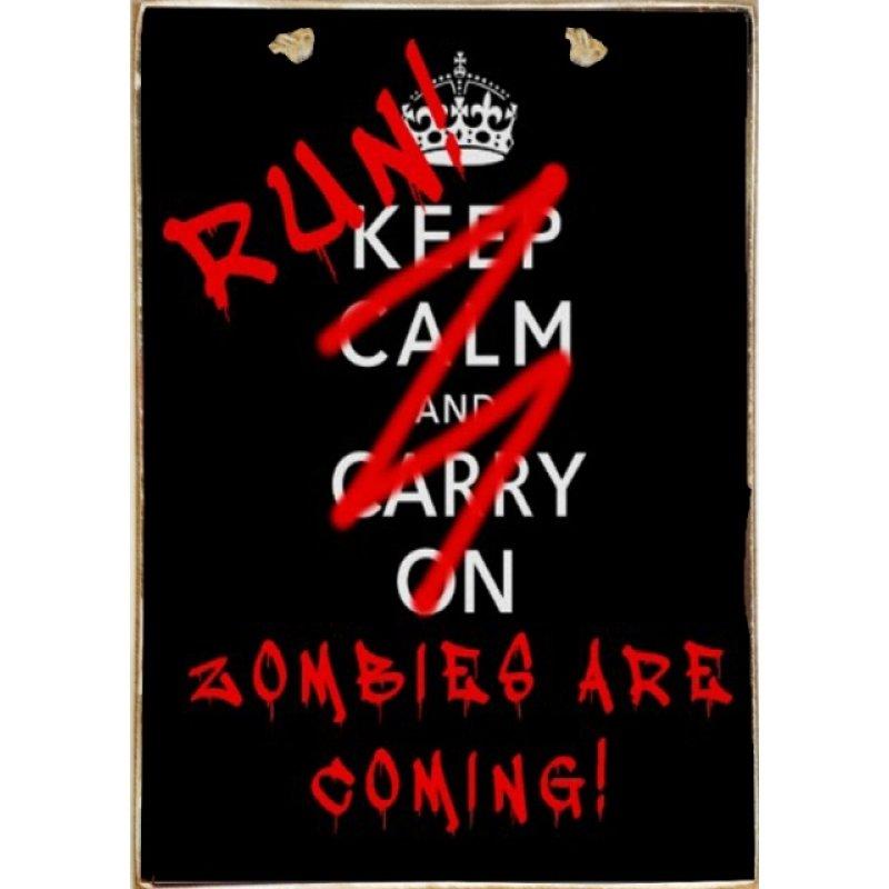 Zombies Ξύλινος Vintage Πίνακας 20 x 30 cm