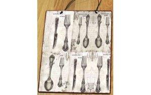 Vintage Cutlery Vintage Ξύλινος Πίνακας 20 x 25 cm 1927