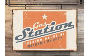 Gas Station Vintage Ξύλινος Πίνακας 20 x 30 cm 1937