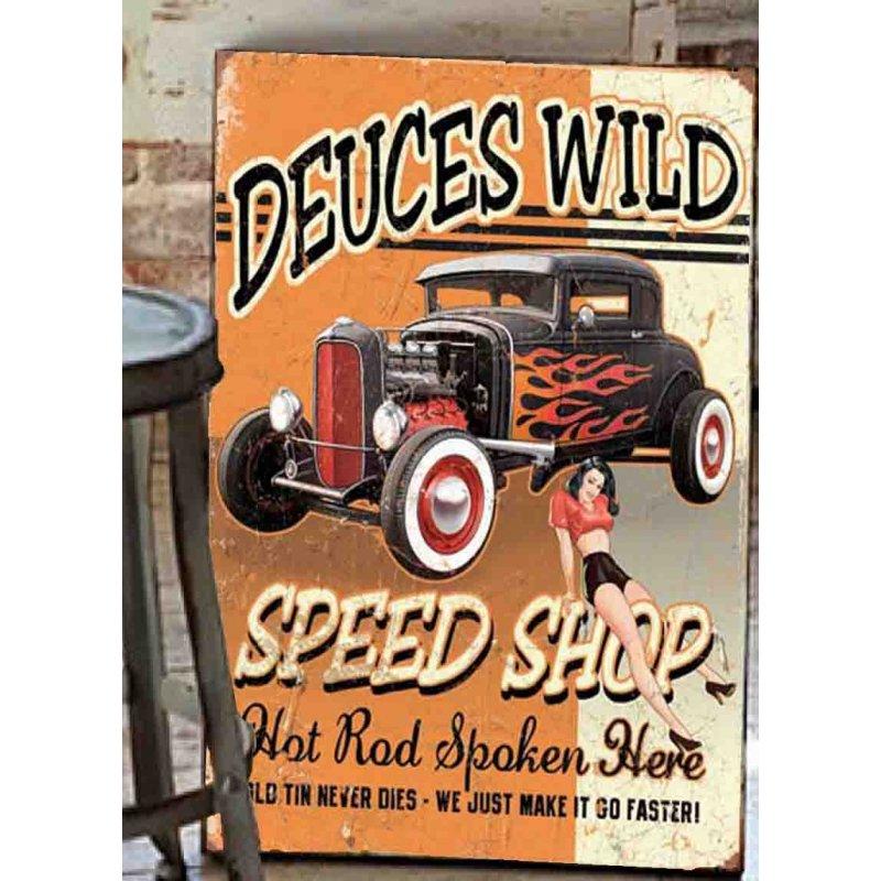 Deuces Wild Speed Shop Ξύλινος Χειροποίητος Πίνακας 20x30 cm