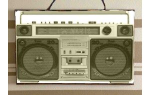 Cassetophone Retro Ξύλινος Πίνακας 20x30 cm