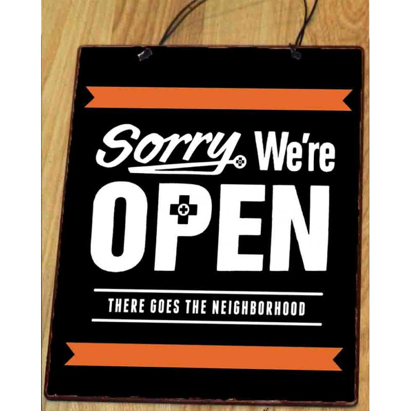 Sorry που είμαστε ανοικτά  Vintage Ξύλινος Πίνακας 20Χ25 cm