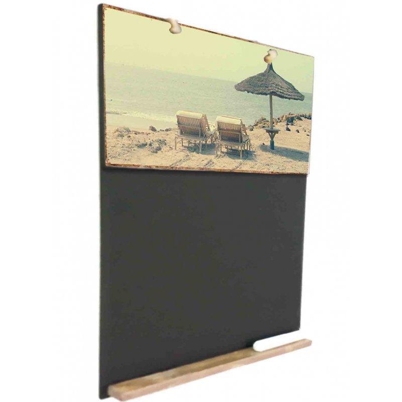 Beach  Ξύλινος Χειροποίητος Μαυροπίνακας 38 x 26 cm