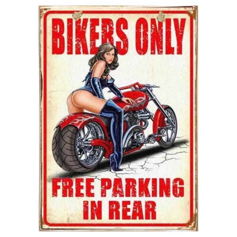 Bikers Only -Vintage Ξύλινος  Πίνακας 20 x 30 cm