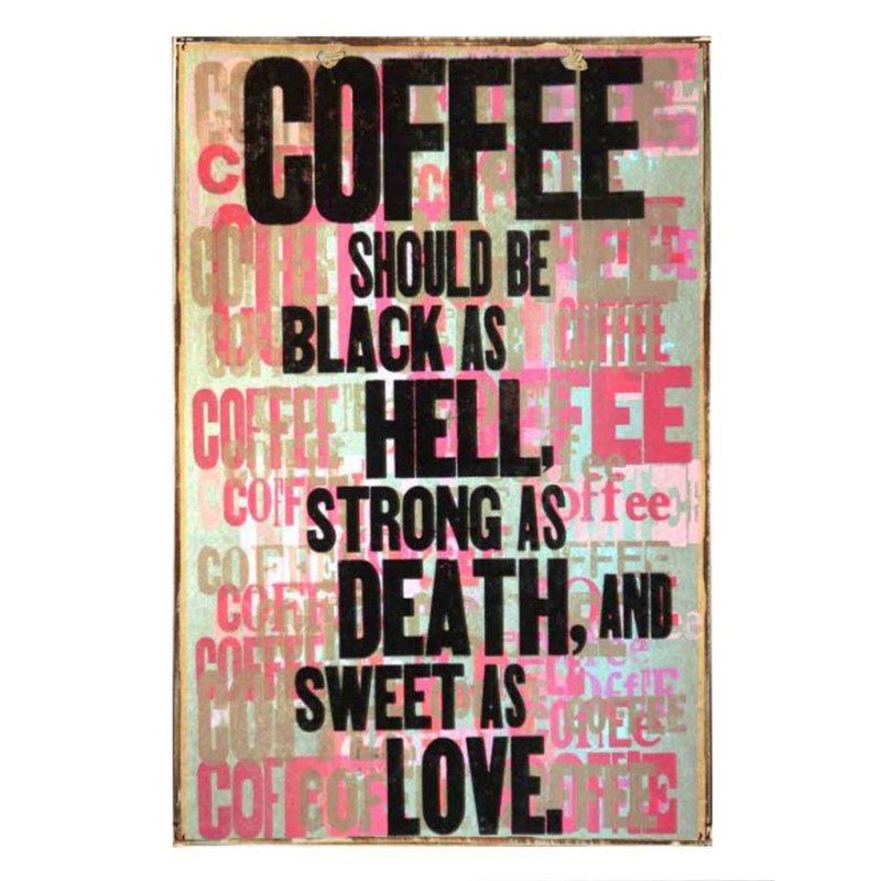Coffee Should Be Strong' Vintage Ξύλινο Πινακάκι 21 x 30 cm