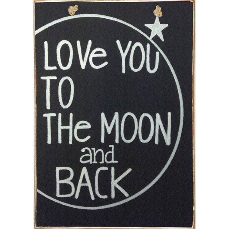 Love You to The Moon and Back -Vintage Ξύλινος  Chalkboard Πίνακας 20 x 30 cm