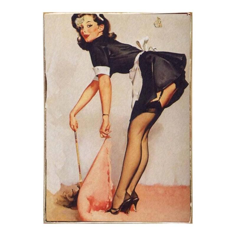 Pinup Girl -Vintage Ξύλινος  Πίνακας 20 x 30 cm