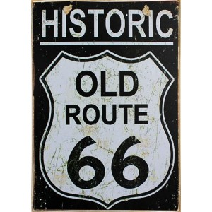 Route 66 -Vintage Ξύλινος  Πίνακας 20 x 30 cm