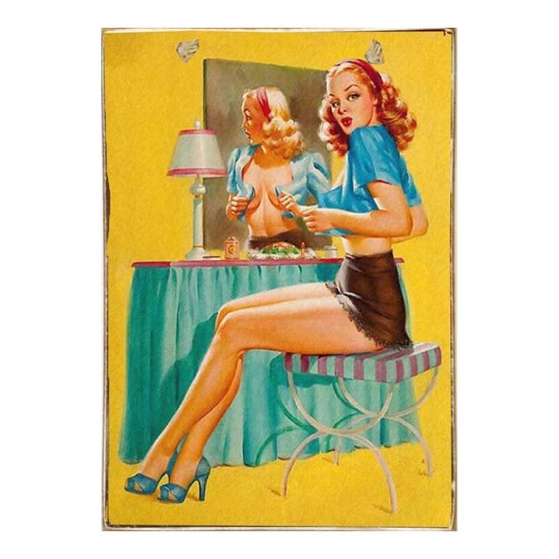 Sexy Pin Up Girl -Vintage Ξύλινος  Πίνακας 20 x 30 cm