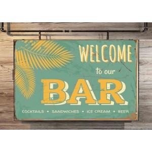 Welcome to our Bar Vintage Ξύλινος Χειροποίητος Πίνακας 20 x 30cm
