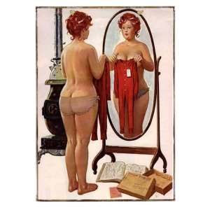 Vintage πίνακας pin up girl στον καθρέφτη