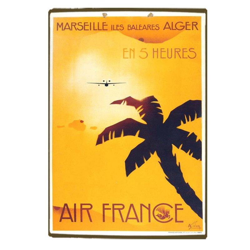 Ξύλινο πινακάκι με ρετρό ταξιδιωτική διαφήμιση Marseille