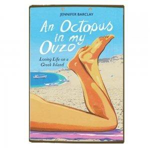 Ξύλινο πινακάκι με εξώφυλλο παλιού βιβλίου An Octopus in my Ouzo
