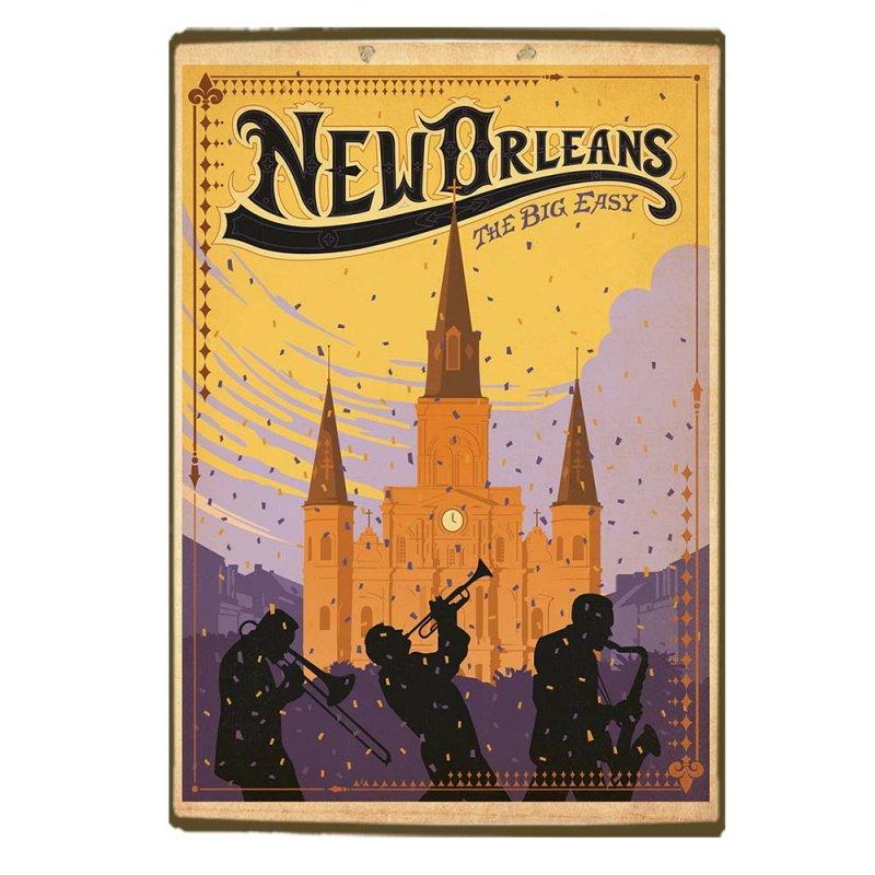 Retro Ξύλινο πινακάκι με διαφήμιση ταξιδίου για τη Νέα Ορλεάνη