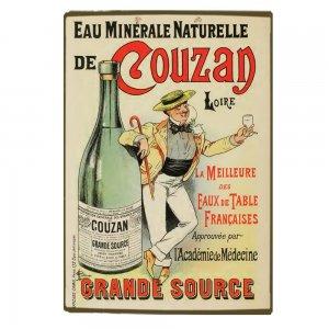 Ξύλινο πινακάκι με παλιά διαφήμιση Γαλλικού ανθρακούχο νερό