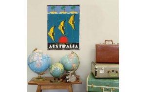 Retro Ξύλινο πινακάκι με διαφήμιση ταξιδίου για την Αυσ&t