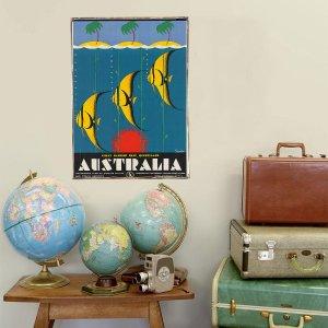 Retro Ξύλινο πινακάκι με διαφήμιση ταξιδίου για την Αυστραλία