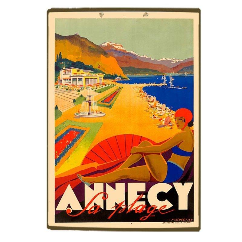 Ξύλινο πινακάκι με ρετρό ταξιδιωτική διαφήμιση Annecy