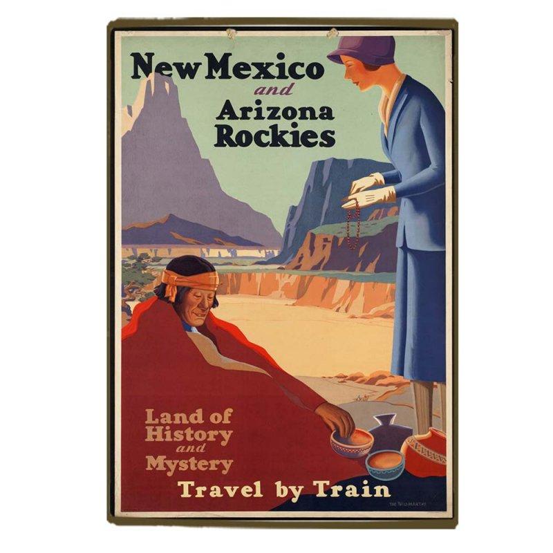 Retro Ξύλινο πινακάκι με διαφήμιση ταξιδίου New Mexico