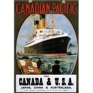 Retro Ξύλινο πινακάκι με διαφήμιση του πλοίου Canadian Pacific