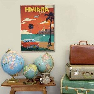 Retro Ξύλινο πινακάκι με διαφήμιση ταξιδίου για την Κούβα