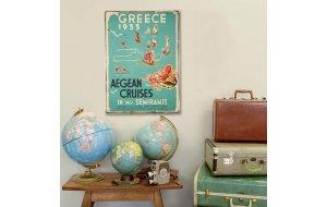 Retro Ξύλινο πινακάκι με διαφήμιση ταξιδίου για την Ελλ