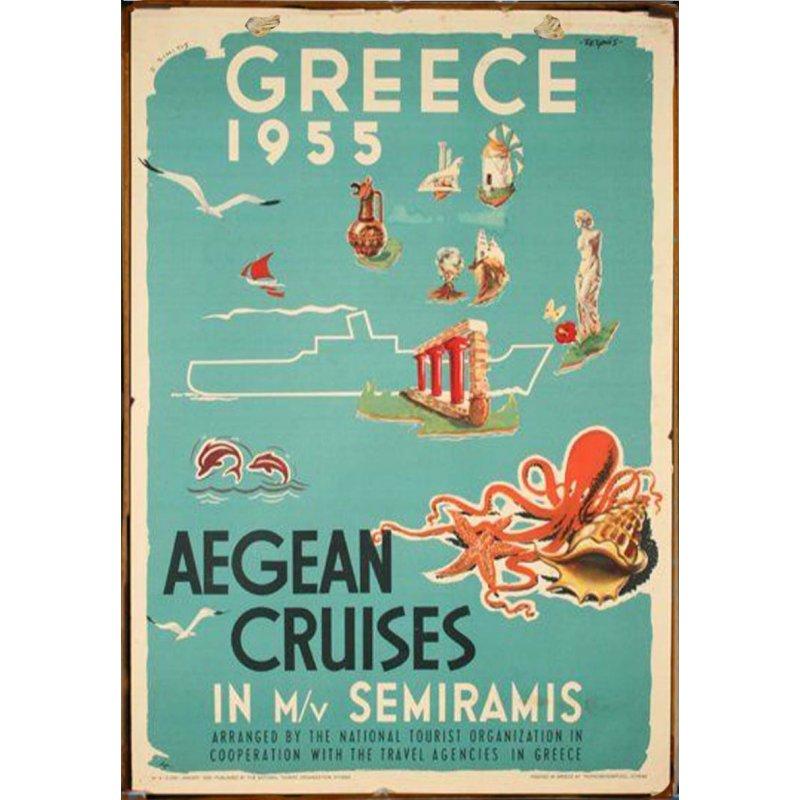 Retro Ξύλινο πινακάκι με διαφήμιση ταξιδίου για την Ελλάδα του 1955