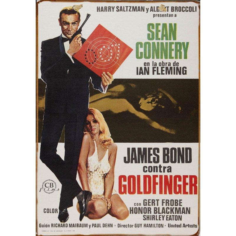 Ξύλινο πινακάκι με παλιά διαφήμιση ταινίας Goldfinger