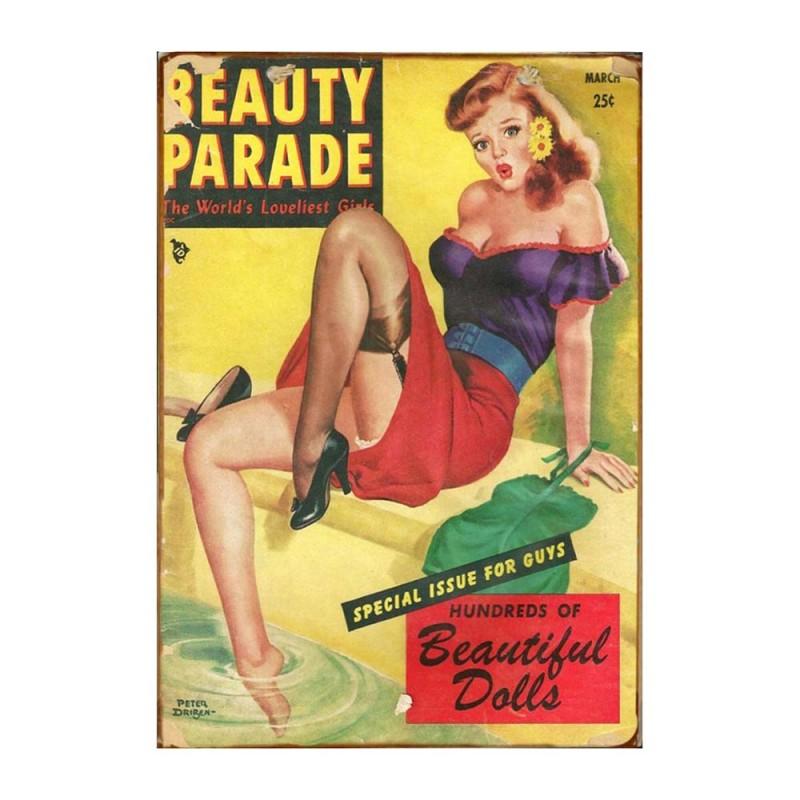 Retro ξύλινο πινακάκι με εξώφυλλο περιοδικού Beauty Parade Dolls