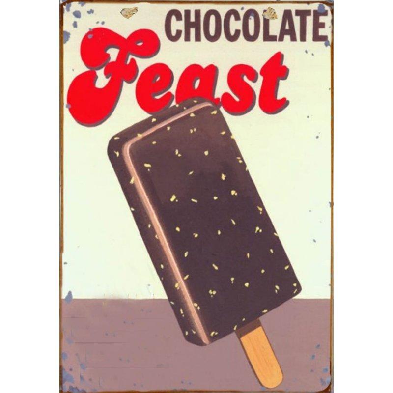 Ξύλινο πινακάκι με παλιά διαφήμιση για παγωτό σοκολάτα ξυλάκι