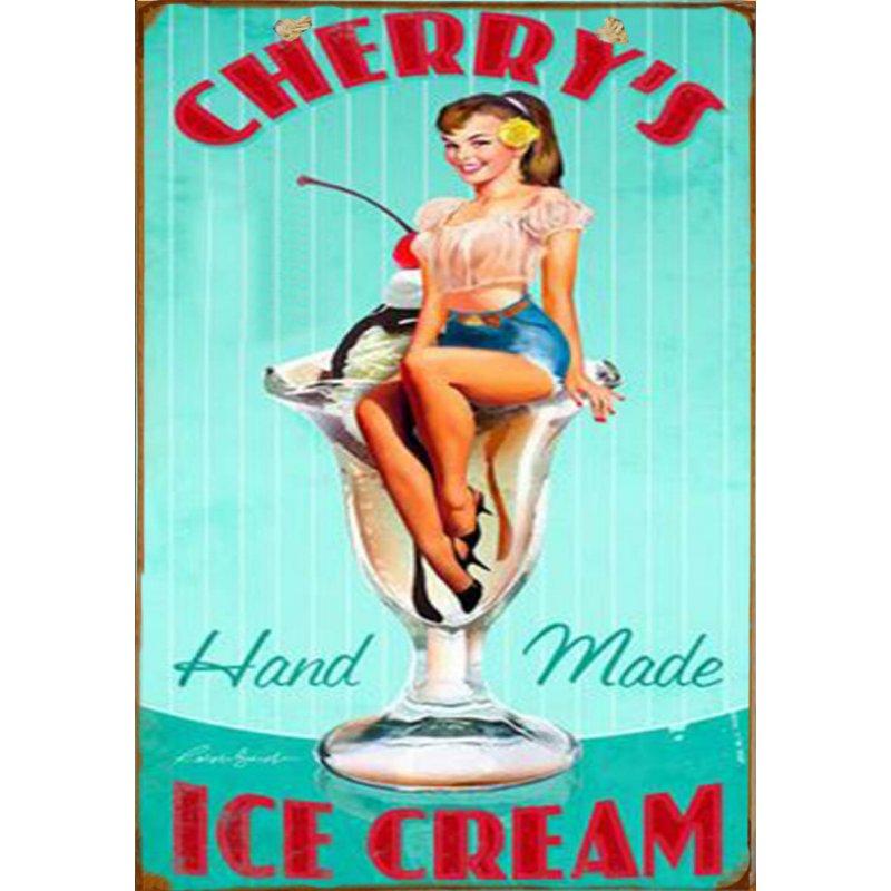 Ξύλινο πινακάκι με παλιά διαφήμιση για χειροποίητο παγωτό