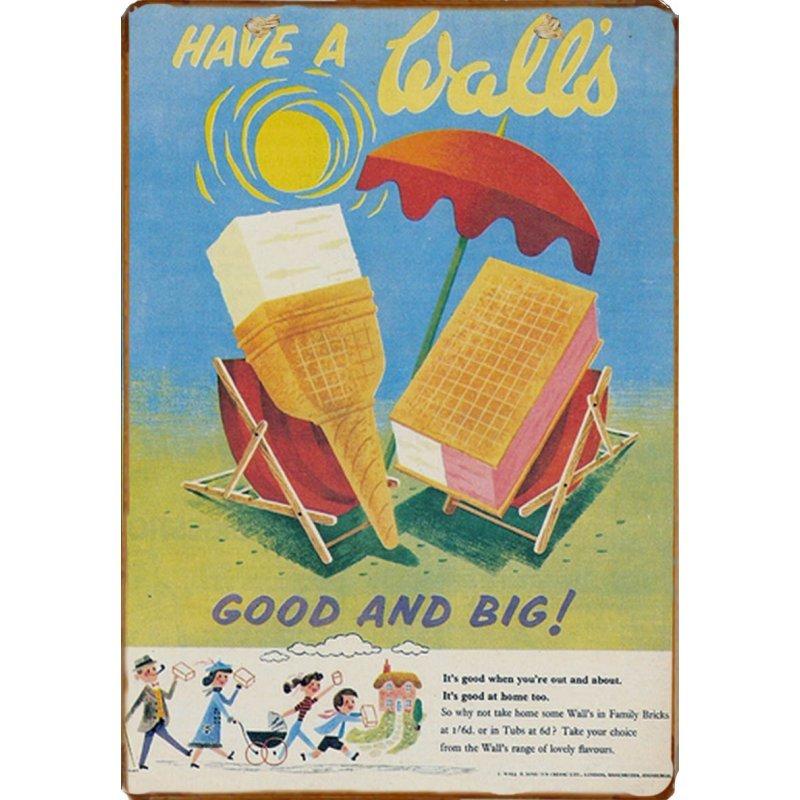 Ξύλινο πινακάκι με παλιά διαφήμιση για παγωτά Walls