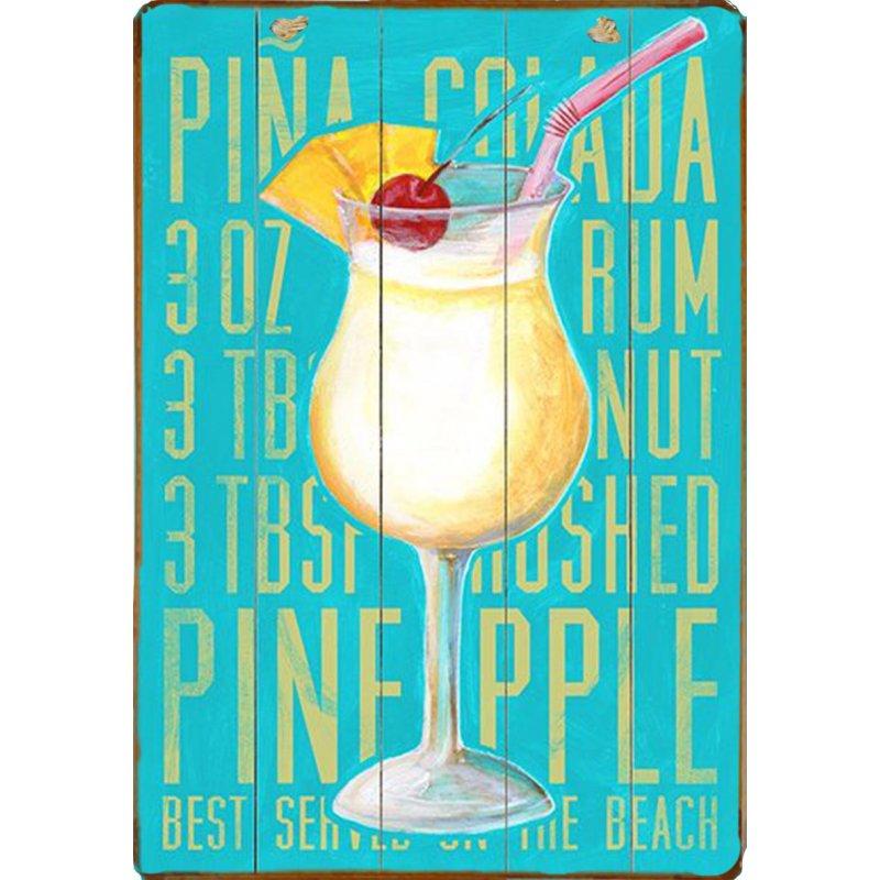 Ξύλινο πινακάκι με παλιά διαφήμιση Pina Colada