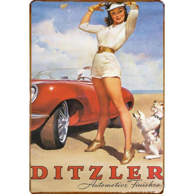 Ξύλινο πινακάκι με vintage διαφήμιση αμερικάνικου αυτοκινήτου