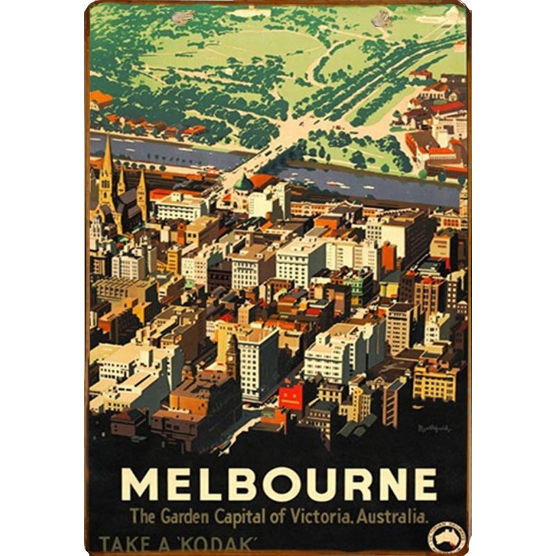 Retro ξύλινο πινακάκι με διαφήμιση ταξιδίου για την Μελβούρνη