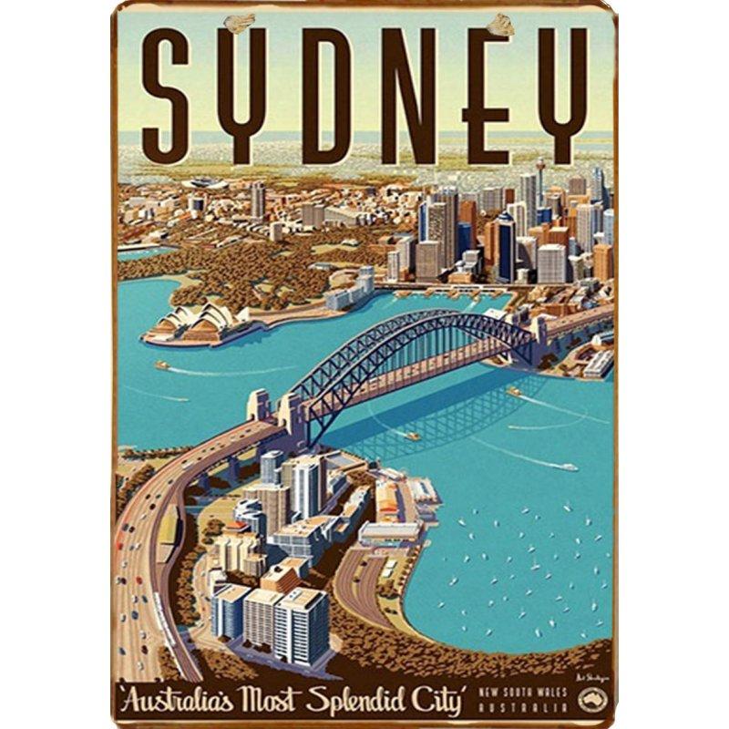 Ξύλινο πινακάκι με vintage ταξιδιωτική διαφήμιση για το Sydney στην Αυστραλία